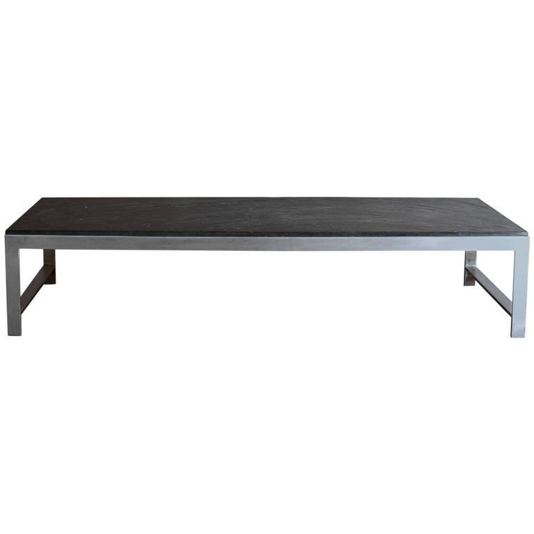 Large Fine French 1970s Metal And Slate Coffee Table Conjeaud Chappey