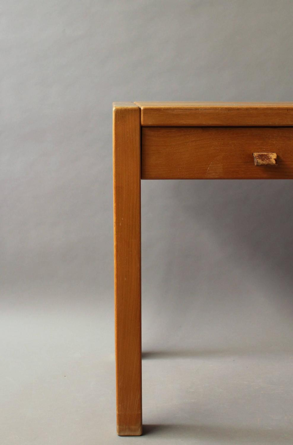 French 1950s Two Drawers Oak Desk with Leather Pulls Conjeaud