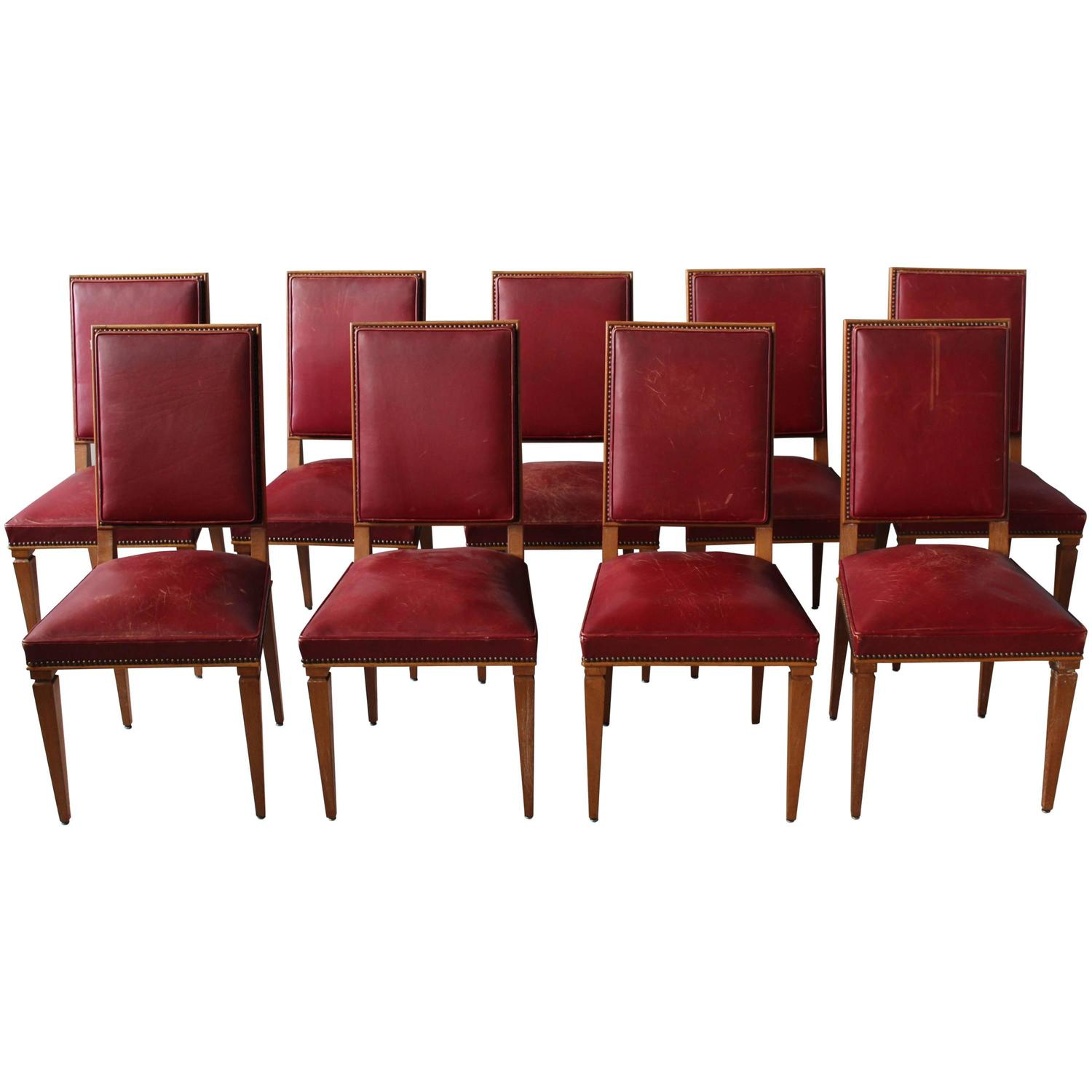 Set Of Nine Fine French Art Deco Lime Oak Side Chairs By Arbus U2013 Conjeaud U0026  Chappey