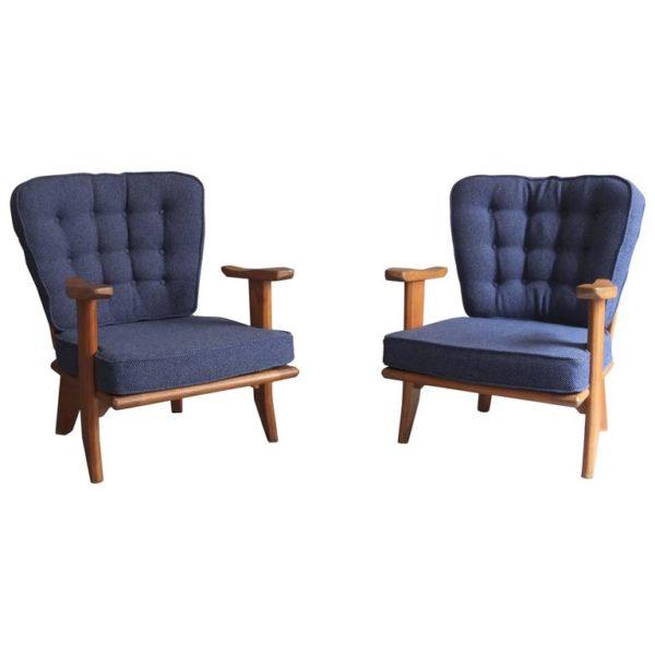 1027- Icone paire de petits fauteuils G&C bleus