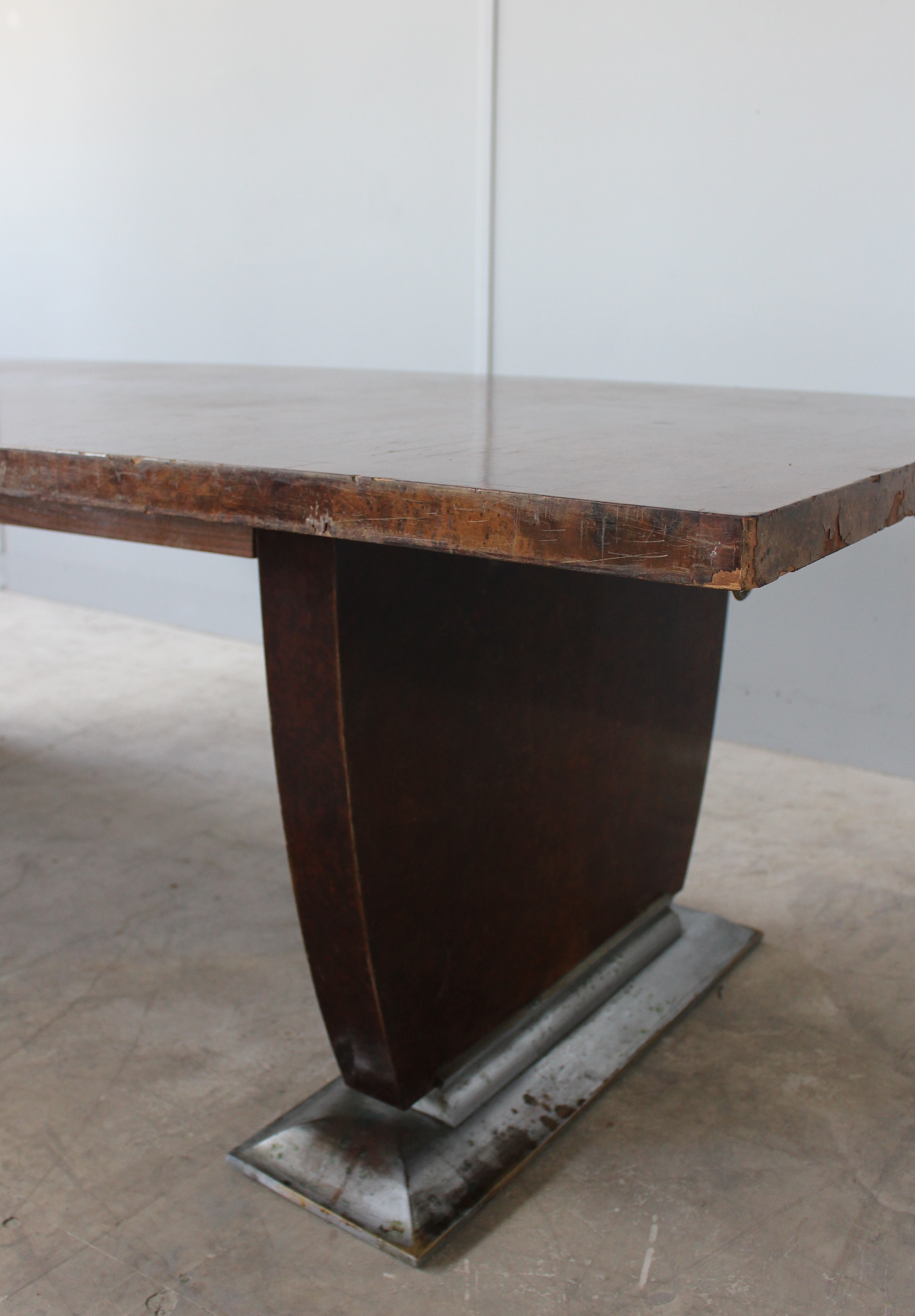 French Art Deco Dining Table By Jules Leleu Matching