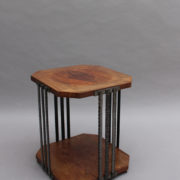 1564-Gueridon octogonal aveyronnais bois metal (1)