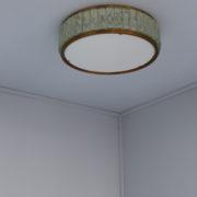 1560-Tambour Perzel pave de verre 45 dore epais