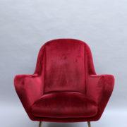 1088A-Fauteuil italien velours rouge 16