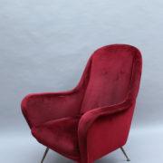 1088A-Fauteuil italien velours rouge 16 (4)