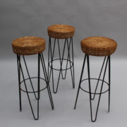 1633-3tabourets de bar rotin metal noir 1