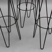 1633-3tabourets de bar rotin metal noir 5