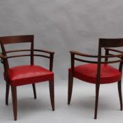 1600-8 chaises 2 bridges acajou cuir rouge 17