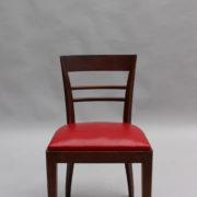 1600-8 chaises 2 bridges acajou cuir rouge 18