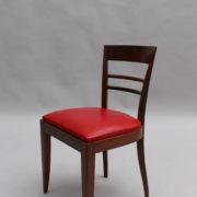 1600-8 chaises 2 bridges acajou cuir rouge 19
