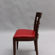 1600-8 chaises 2 bridges acajou cuir rouge 20