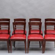 1600-8 chaises 2 bridges acajou cuir rouge 4
