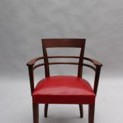 1600-8 chaises 2 bridges acajou cuir rouge 5