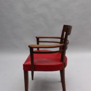 1600-8 chaises 2 bridges acajou cuir rouge 7