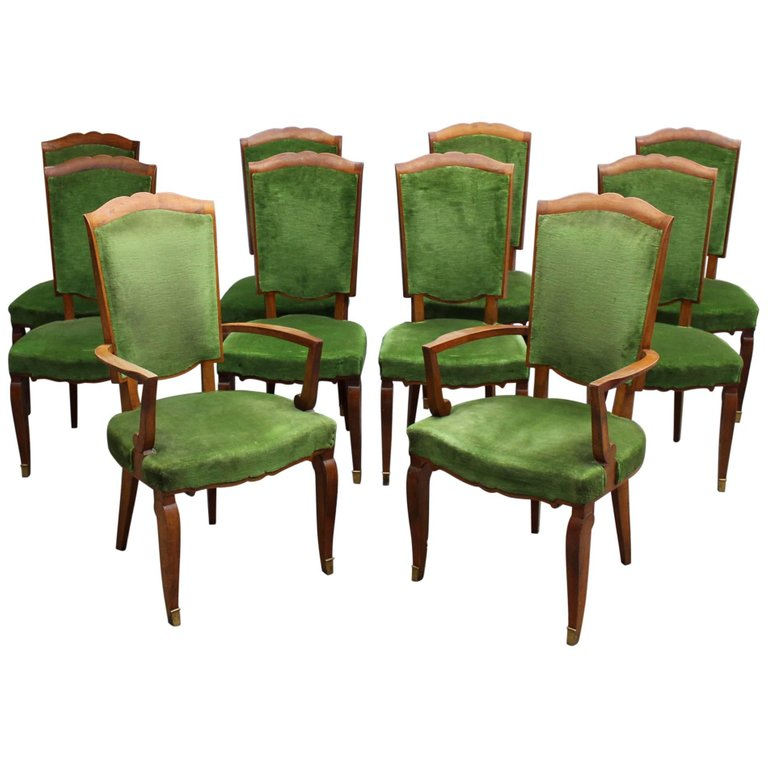 Set Of Ten Fine French Art Deco Chairs By Leleu Eight Side And Two