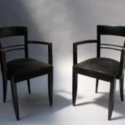 1629-4 chaises 2 bridges noirs att. Adnet 12