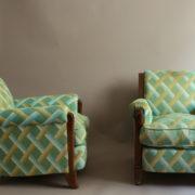 1094-Paire fauteuils clubs a carreaux verts