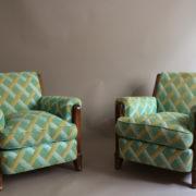 1094-Paire fauteuils clubs a carreaux verts (20)