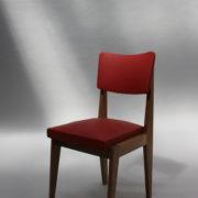 1761-4 chaises 50s skai rouge petits carres (4)