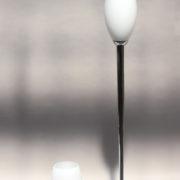 1786-Grand lampadaire Perzel chrome vasque verre blanc epais 00009
