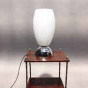 1787-Lampe a poser Perzel chrome vasque verre blanc epais 00006