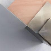1693-Applique Perzel 2 carres de verre rose blanc potence nickel00002