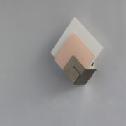 1693-Applique Perzel 2 carres de verre rose blanc potence nickel00004