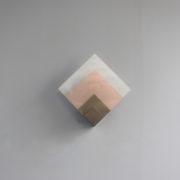 1693-Applique Perzel 2 carres de verre rose blanc potence nickel00012