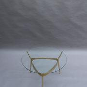 1307-Gueridon metal dore deux plateaux10