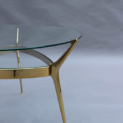 1307-Gueridon metal dore deux plateaux2