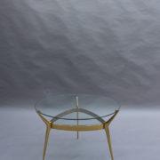 1307-Gueridon metal dore deux plateaux6
