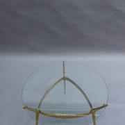 1307-Gueridon metal dore deux plateaux9