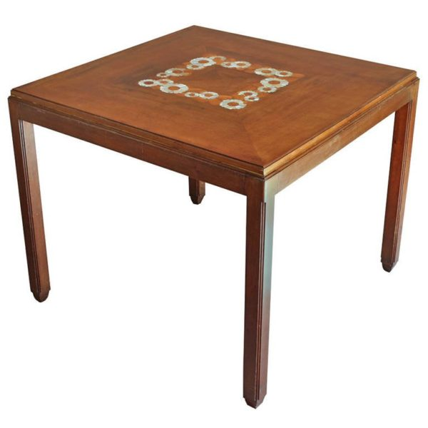 Fine French Art Deco Side or Game Table by Paul Follot