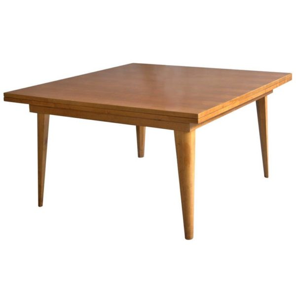 A Large French 1950's Dining Table with Two Pull-Out End Leaves