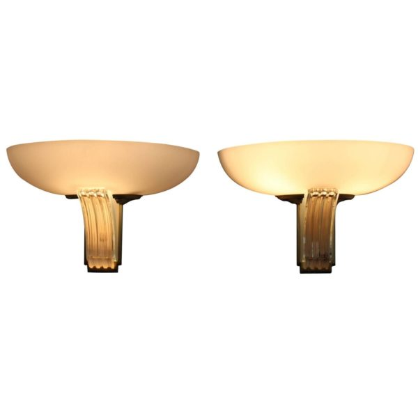 Pair of Fine French Art Deco Glass Sconces by Jean Perzel