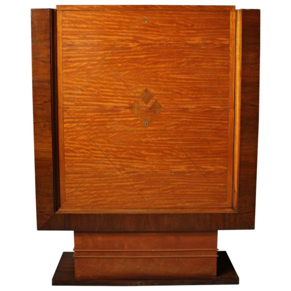 Fine Art Deco Satinwood and Walnut Secretaire or Bar by De Coene