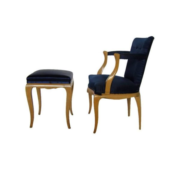 A Fine French 1940's Beech Armchair and Ottoman