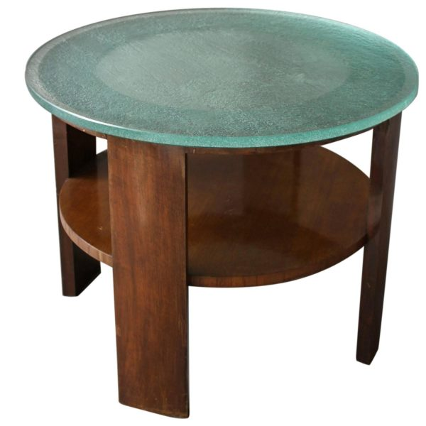 French Art Deco Gueridon with a Slab Glass Top