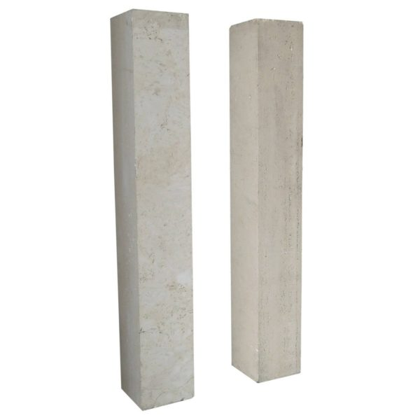 A Pair of French Art Deco Travertine Pedestals in the Manner of Marc du Plantier