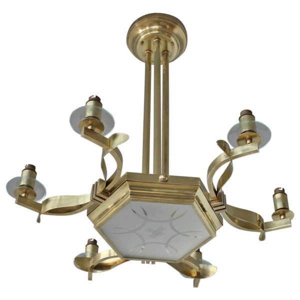 Fine French 1950's Brass and Glass Chandelier