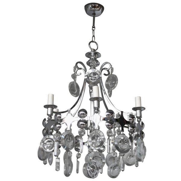 Fine French, 1970s Metal and Glass Chandelier