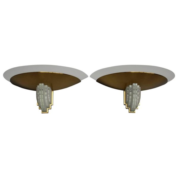 Pair of French Art Deco Brass and Glass Sconces by Jean Perzel