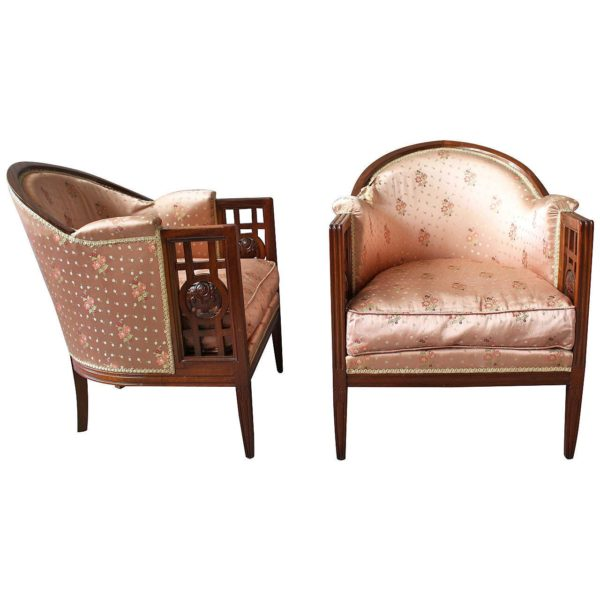 A Pair of Fine French Art Deco Mahogany Armchairs by Paul Follot