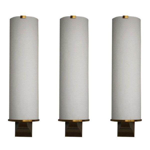 3 French Art Deco Semi Cylinder Shape Sconces by Perzel