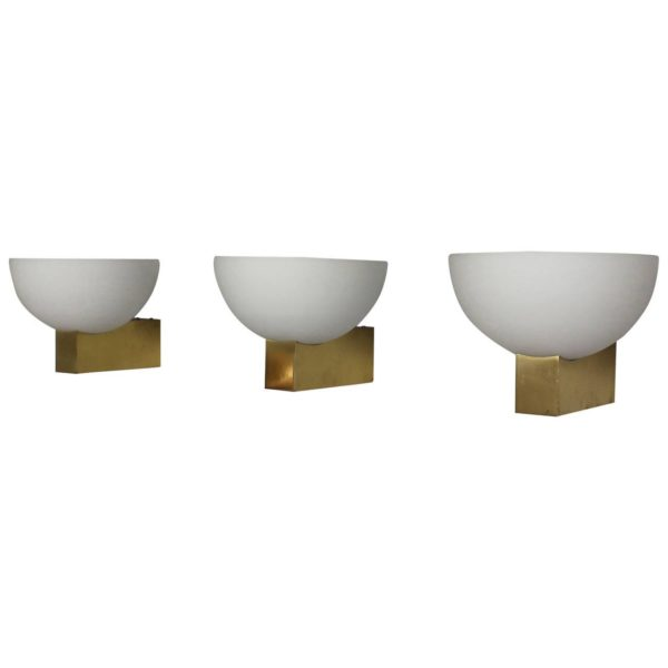 15 French Art Deco Bronze and White Glass Sconces by Jean Perzel