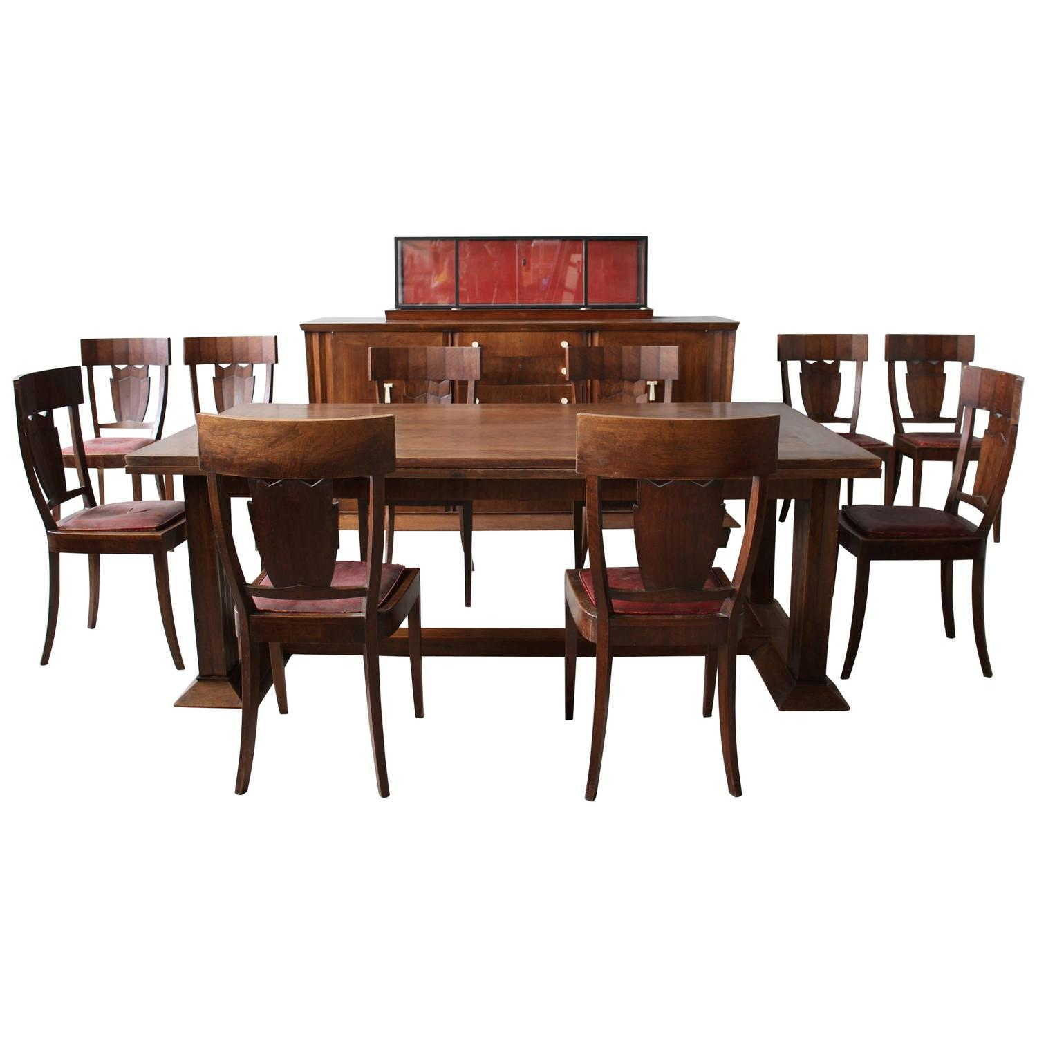 Rare French Art Deco Walnut Dining Room Set by Jean-Charles Moreux