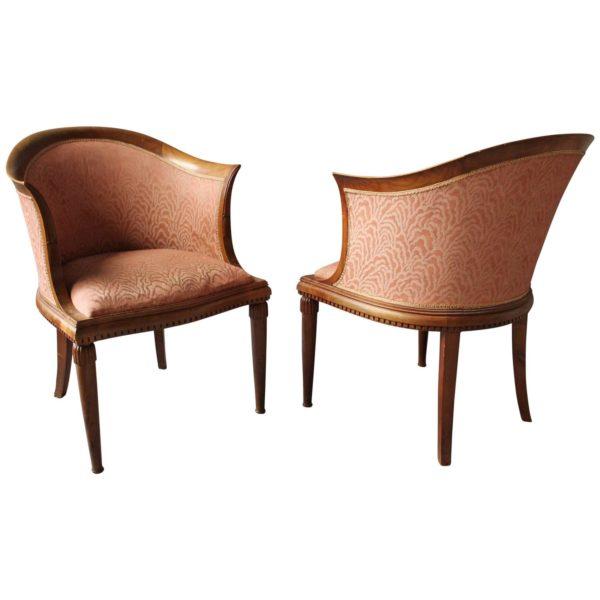 Pair of Fine French Art Deco Mahogany Armchairs