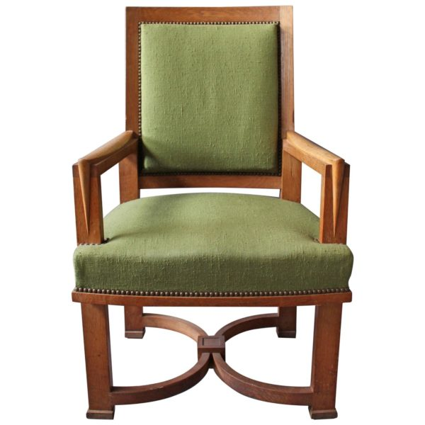 A Fine French Art Deco Oak Armchair by Arbus (11 matching chairs available)