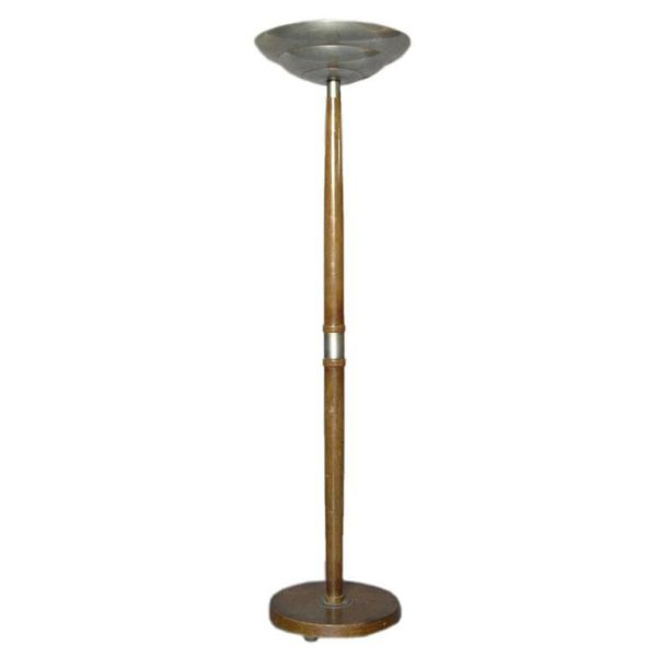French Art Deco Wood and Metal Floor Lamp