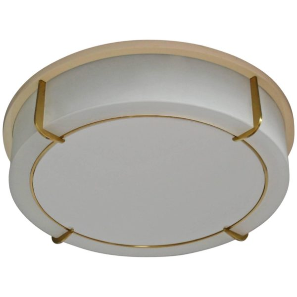Fine French Art Deco Brass and Glass Round Flush Mount by Jean Perzel